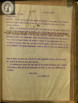 Letter from E. S. Babcock to J. B. Seghers, Hotel