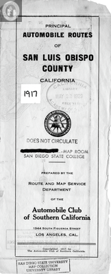 Map of San Luis Obispo County, CA 1917 Front Cover