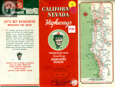 Road Map of California Nevada Highways Front Cover