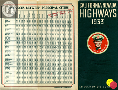 Map of California-Nevada Highways 1933 Front Cover