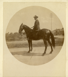 Pat Sprigg on horseback