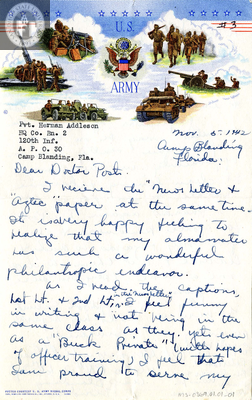 Letter from Herman H. Addleson, 1942