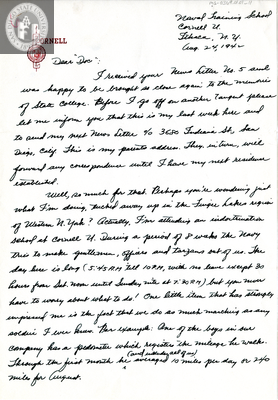 Letter from Joseph Avoyer, 1942