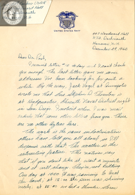 Letter from Edwin F. Barker, Jr., 1942