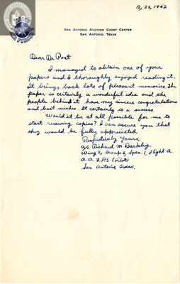 Letter from Richard M. Barkley, 1942