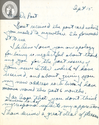 Letter from Richard L. Bate, 1942