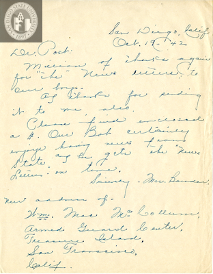 Letter from Louise M. Bauder, 1942