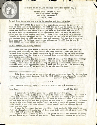 The Aztec News Letter, Number 1, May 6, 1942