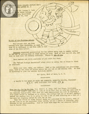 The Aztec News Letter, Number 9, November 20, 1942