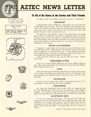The Aztec News Letter, Number 11, January 31, 1943