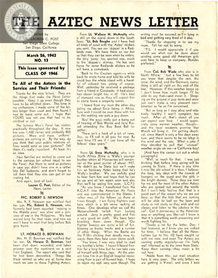 The Aztec News Letter, Number 13, March 26, 1943