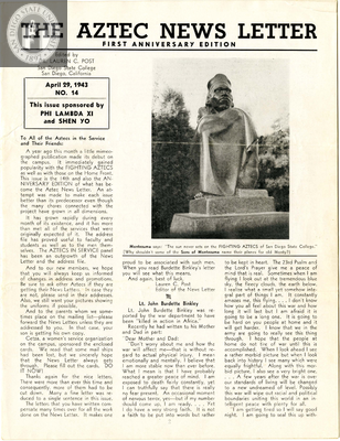 The Aztec News Letter, Number 14, April 29, 1943