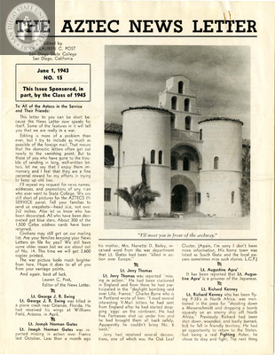 The Aztec News Letter, Number 15, June 1, 1943