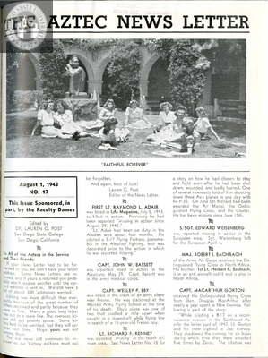The Aztec News Letter, Number 17, August 1, 1943