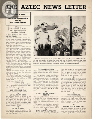 The Aztec News Letter, Number 19, October 1, 1943