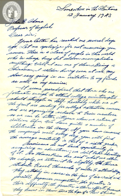 Letter from Some D. Ching, 1943