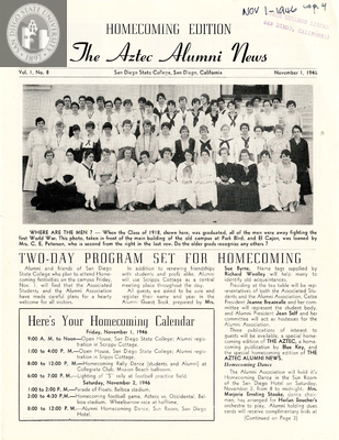 The Aztec Alumni News, Volume 1, Number 8, November 1, 1946