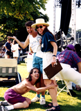 Group clowning on lawn at San Diego Pride, 1995