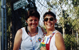 Festival goers by fence at San Diego Pride, 1995