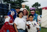 Clown performers and a family at San Diego Pride, 1995