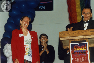 Vickie Randle receiving an Out & Free award at San Diego Pride, 1995
