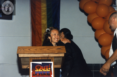 Brenda Schumacher at Out & Free award ceremony at San Diego Pride, 1995