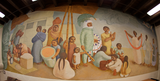"Fisheye-lens view of the mural ""Market,"" 1949"