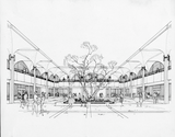 Architectural rendering of atrium of Aztec Center
