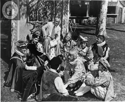 Director B. Iden Payne and actors rehearse for Twelfth Night, 1949