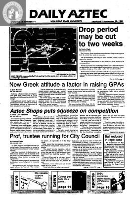 Daily Aztec: Thursday 09/15/1983